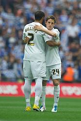 LONDON, ENGLAND - Saturday, May 30, 2011: Swansea City's Joe Allen and Ashley Williams before the Football League Championship Play-Off Final match against Reading at Wembley Stadium. (Photo by David Rawcliffe/Propaganda)