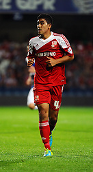 Swindon Town's Massimo Luongo  - Photo mandatory by-line: Seb Daly/JMP - Tel: Mobile: 07966 386802 27/08/2013 - SPORT - FOOTBALL - Loftus Road - London - Queens Park Rangers V Swindon Town -  Capital One Cup - Round 2