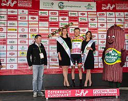 10.07.2019, Radstadt, AUT, Ö-Tour, Österreich Radrundfahrt, Siegerehrung der 4. Etappe, von Radstadt nach Fuscher Törl (103,5 km), im Bild Georg Zimmermann (GER, Tirol KTM Cycling Team) im Bergtrikot // Georg Zimmermann of Germany (Tirol KTM Cycling Team) in the king of the mountains jersey during the winner ceremony of the 4th stage from Radstadt to Fuscher Törl (103,5 km) of the 2019 Tour of Austria. Radstadt, Austria on 2019/07/10. EXPA Pictures © 2019, PhotoCredit: EXPA/ Reinhard Eisenbauer
