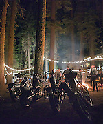 Motorcycles surround a bonfire at a Northern California wedding reception at Pinecrest Chalet in California's Sierra Nevada Mountains.