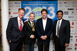 LIVERPOOL, ENGLAND - Wednesday, June 12, 2013: Steve Hothersall, Liverpool Lord Mayor Councillor Gary Millar, Tournament Director Anders Borg and Professor Gerald Pillay during a Gala Dinner for the sponsors of the Liverpool Hope International Tennis Tournament hosted by Liverpool Hope University at Hope Park. (Pic by David Rawcliffe/Propaganda)