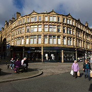 Victorian buildings at the junction of Russell Street and Market Street in Halifax.