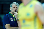 Brazil's trainer coach Bernardo Rezende reacts after lost point while volleyball match between Brazil and Russia during the 2014 FIVB Volleyball World Championships at Spodek Hall in Katowice on September 14, 2014.<br /> <br /> Poland, Katowice, September 14, 2014<br /> <br /> For editorial use only. Any commercial or promotional use requires permission.<br /> <br /> Mandatory credit:<br /> Photo by © Adam Nurkiewicz / Mediasport
