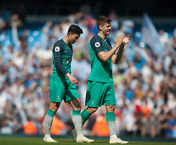 Son Heung-Min (L) and Fernando Llorente of Tottenham Hotspur look dejected at the final whistle - Mandatory by-line: Jack Phillips/JMP - 20/04/2019 - FOOTBALL - Etihad Stadium - Manchester, England - Manchester City v Tottenham Hotspur - English Premier League