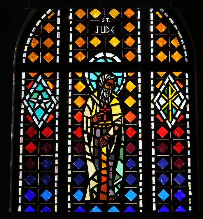 Stained glass image of St. Jude from Allouez Cemetery in Green Bay. (Photo by Sam Lucero)