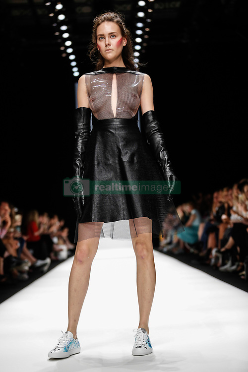 July 3, 2018 - Berlin, Germany - A model presents a Spring/Summer 2019 Irene Luft collection during the first day of MBFW Berlin Fashion Weak in the ewerk showspace in Berlin, Germany on July 3, 2018. (Credit Image: © Dominika Zarzycka/NurPhoto via ZUMA Press)