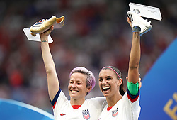 USA's Megan Rapinoe (left) and Alex Morgan with the adidas Golden Boot and adidas Silver Boot respectively after the final whistle
