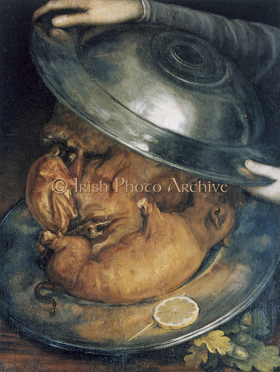 The Cook', still life c1570.  If turned upside-down the cook's portrait is composed of two dishes and roast sucking pigs. Guiseppe Arcimboldo (c1530-93) Italian painter. Oil on wood.
