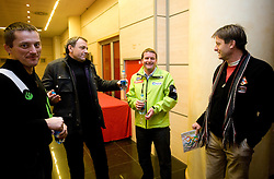Dusan Blazic, Matjaz Sarabon in dr. Milan Zvan na okrogli mizi na temo o realnosti nasih pricakovanj pred olimpijskimi igrami v Vancouvru 2010, izzivih, priloznostih in problematiki v slovenskem alpskem smucanju v organizaciji SportForum Slovenija, 25. januar 2010, Austria Trend Hotel, Ljubljana, Slovenija. (Photo by Vid Ponikvar / Sportida)