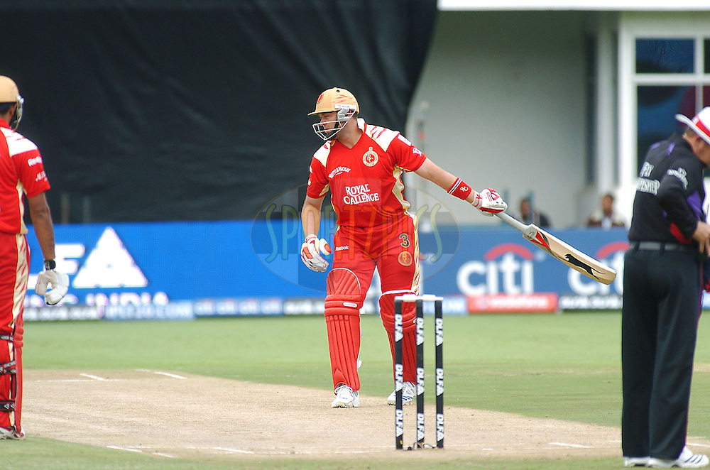 PORT ELIZABETH, SOUTH AFRICA - 26 April 2009.  Jacque Kallis looks at his wicket after getting out 1st ball during the  IPL Season 2 match between the Royal Challengers Bangalore and Delhi Daredevils held at St Georges Park in Port Elizabeth , South Africa.