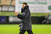 Forest Green Rovers manager, Mark Cooper applauds the fans at the end of the game during the Vanarama National League match between Forest Green Rovers and Aldershot Town at the New Lawn, Forest Green, United Kingdom on 5 November 2016. Photo by Shane Healey.