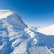 Guðmundur Helgi Christensen ski touring at Botnsúlur mountains. Iceland.