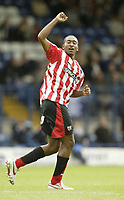 Photo: Aidan Ellis.<br /> Bury FC v Brentford. Coca Cola League 2. 01/09/2007.<br /> Brentford's Ricky Shakes salutes his winning goal