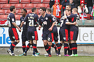 Picture by David Horn/Focus Images Ltd +44 7545 970036.23/02/2013.Billy Clarke (2nd right).of Crawley Town celebrates scoring his side's first goal during the npower League 1 match at the Matchroom Stadium, London.