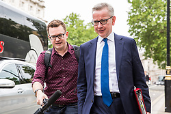 London, UK. 18 June, 2019. Michael Gove MP, Secretary of State for Environment, Food and Rural Affairs, is seen in Whitehall following a Cabinet meeting at 10 Downing Street.