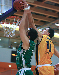 Dario Krejic and Miha Markic at 12th Round of UPC League basketball match between KK Luka Koper and KK Zlatorog Lasko, on May 2, 2009, in Arena Bonifika, Koper, Slovenia. Zlatorog won the match 72:71. (Photo by Vid Ponikvar / Sportida)