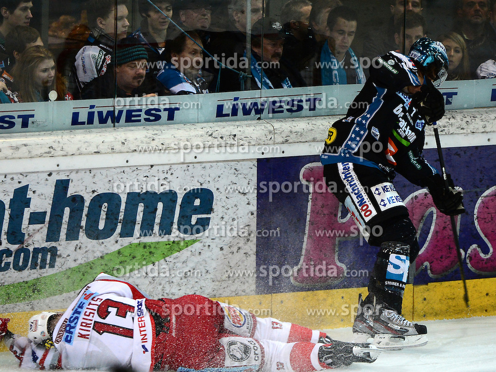 22.03.2013, Keine Sorgen Eisarena, Linz, AUT, EBEL, EHC Liwest Black Wings Linz vs EC KAC, Playoff Halbfinale, 5. Spiel, im Bild Danny Irmen (Liwest Black Wings Linz, #9) und Johannes Kirisits (EC KAC, #13) // during the Erste Bank Icehockey League playoff semifinal 5th match between EHC Black Wings Linz and EC KAC at the Keine Sorgen Icearena, Linz, Austria on 2013/03/22. EXPA Pictures © 2013, PhotoCredit: EXPA/ Reinhard Eisenbauer