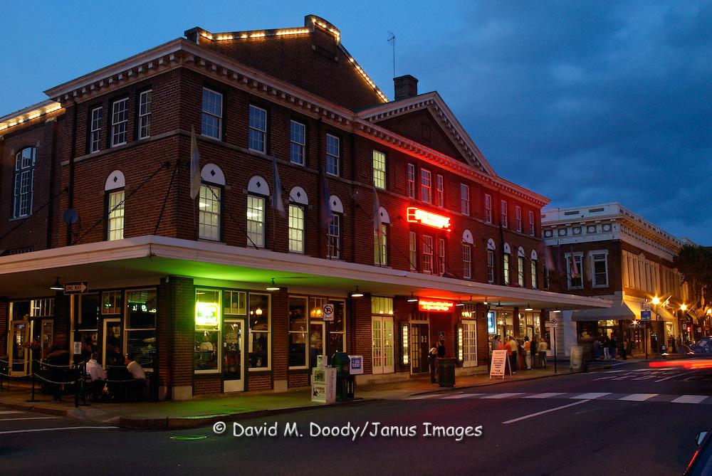 Downtown Roanoke, Virginia  in the Market Street Area at dusk October 2002.