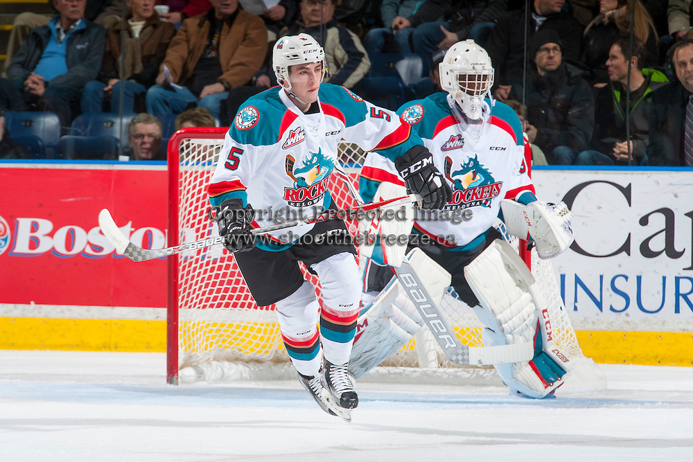 KELOWNA, CANADA - DECEMBER 30: Konrad Belcourt #5 of the Kelowna Rockets skates against the Victoria Royals on December 30, 2016 at Prospera Place in Kelowna, British Columbia, Canada.  (Photo by Marissa Baecker/Shoot the Breeze)  *** Local Caption ***
