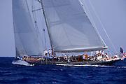 J-class Endeavour practicing for the Antigua Classic Yacht Regatta