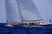 J-class Endeavour practicing for the Antigua Classic Yacht Regatta