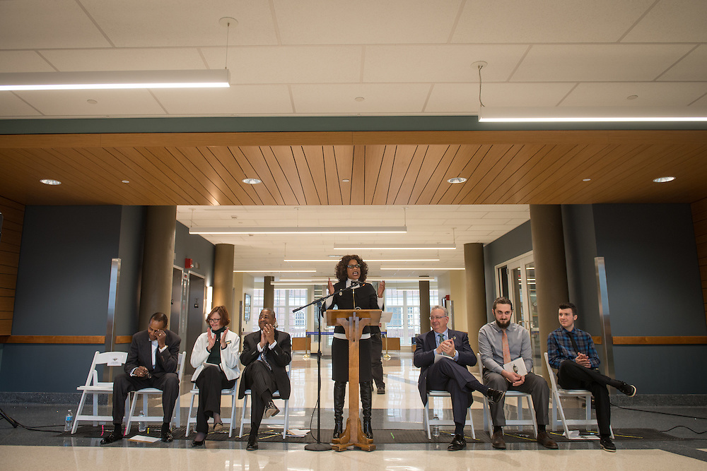 Renee Middleton, Dean of the Patton College of Education speaks to the attendees of the ribbon cutting ceremony for the Gladys W. and David H. Patton College of Education's newly renovated McCracken Hall held on January 27, 2017.