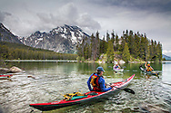 Sea kayakers, Leigh Lake in the Grand Tetons, Grand Teton National Park