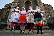 Sudbury, Suffolk. Sudbury on Show at St Peter's Church in Sudbury. Friendship dancers from left Karen Barltrop, Kathleen Hill, Robin Hart and Diana Gwilliam. <br /> <br /> Picture: MARK BULLIMORE