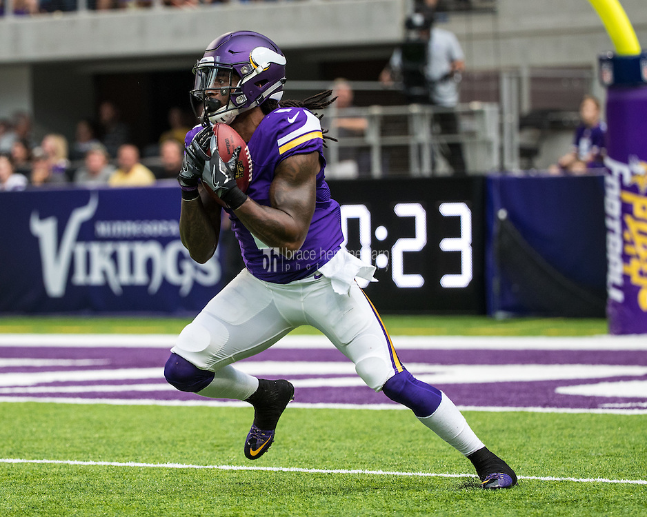 Aug 28, 2016; Minneapolis, MN, USA; Minnesota Vikings wide receiver Troy Stoudermire (1) during a preseason game against the San Diego Chargers at U.S. Bank Stadium. The Vikings defeated the Chargers 23-10. Mandatory Credit: Brace Hemmelgarn-USA TODAY Sports