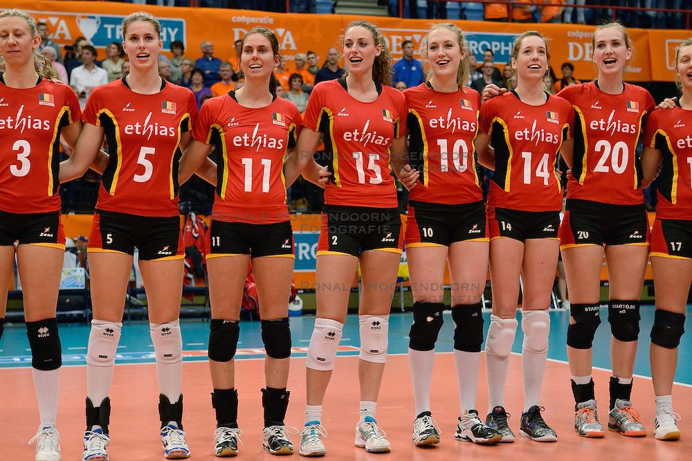 30-12-2013 VOLLEYBAL: DELA TROPHY NEDERLAND - BELGIE: DEN BOSCH <br /> Nederland wint de Dela Trophy door Belgie met 3-1 te verslaan / Line up Belgie<br /> &copy;2013-FotoHoogendoorn.nl