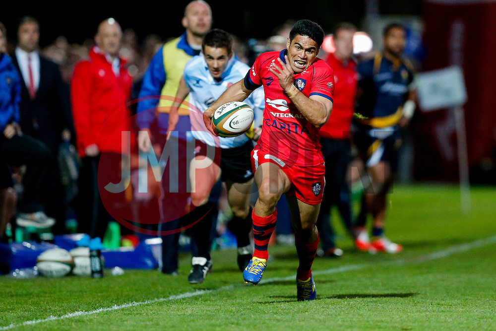 Bristol Rugby Winger David Lemi breaks down the wing to set up a try for replacement Matthew Morgan - Photo mandatory by-line: Rogan Thomson/JMP - 07966 386802 - 27/05/2015 - SPORT - Rugby Union - Worcester, England - Sixways Stadium - Worcester Warriors v Bristol Rugby - Greene King IPA Championship Play-Off Final 2nd Leg.