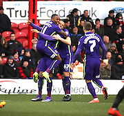 Charlton Athletic midfielder, Callum Harriott (11) scoring at the beginning of the game to make the score 0-1 during the Sky Bet Championship match between Brentford and Charlton Athletic at Griffin Park, London, England on 5 March 2016. Photo by Matthew Redman.