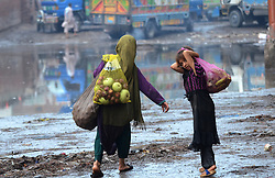 July 28, 2017 - Lahore, Punjab, Pakistan - Afghan girls collecting usable discarded fruits and vegetables from the Badami Bagh market. Pakistan is among 11 countries which carry almost 50 percent of the global burden of chronic hepatitis. (Credit Image: © Rana Sajid Hussain/Pacific Press via ZUMA Wire)