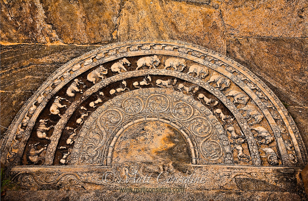 This fabulously intricate carving is the motif used in the old city for the entrance step for important buildings.<br /> (Photo by Matt Considine - Images of Asia Collection)