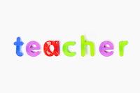 Alphabet magnets spelling 'teacher' over white background