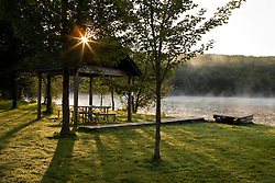 The picnic area at Lake Francis State Park in Pittsburg, New Hampshire.