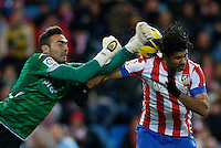 13.01.2013 SPAIN -  La Liga 12/13 Matchday 19th  match played between Atletico de Madrid vs Real Zaragoza (2-0) at Vicente Calderon stadium. The picture show  Diego da Silva Costa (Brazilian midfielder of At. Madrid) and Roberto Jimenez Gago (Spanish goalkeeper of Real Zaragoza)