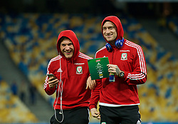 KIEV, UKRAINE - Easter Monday, March 28, 2016: Wales' George Williams and David Cotterill before the International Friendly match against Ukraine at the NSK Olimpiyskyi Stadium. (Pic by David Rawcliffe/Propaganda)