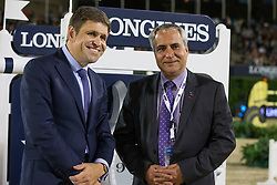 Juan Carlos Capelli (SUI), Longines Vice-President and Head of International Marketing with Ingmar De Vos (BEL), Secretary General FEI<br /> Final competiton<br /> Furusiyya FEI Nations Cup™ Final - Barcelona 2014<br /> © Dirk Caremans<br /> 11/10/14
