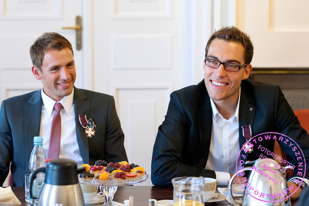 (L) Lukasz Kubot and (R) Jerzy Janowicz during meeting in Ministry of Sport in Warsaw, Poland.<br /> <br /> Poland, Warsaw, July 08, 2013<br /> <br /> Picture also available in RAW (NEF) or TIFF format on special request.<br /> <br /> For editorial use only. Any commercial or promotional use requires permission.<br /> <br /> Photo by &copy; Adam Nurkiewicz / Mediasport