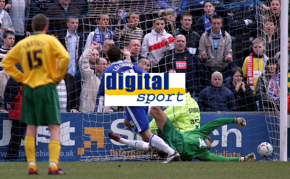 Photo: Paul Thomas.<br /> Stockport County v Hartlepool United. Coca Cola League 2. 17/03/2007.<br /> <br /> Keeper Dimi Konstantoplous (Green) of Hartlepool can't stop Adam Le Fondre's (14) penalty, while the Hartlepool fans watch.