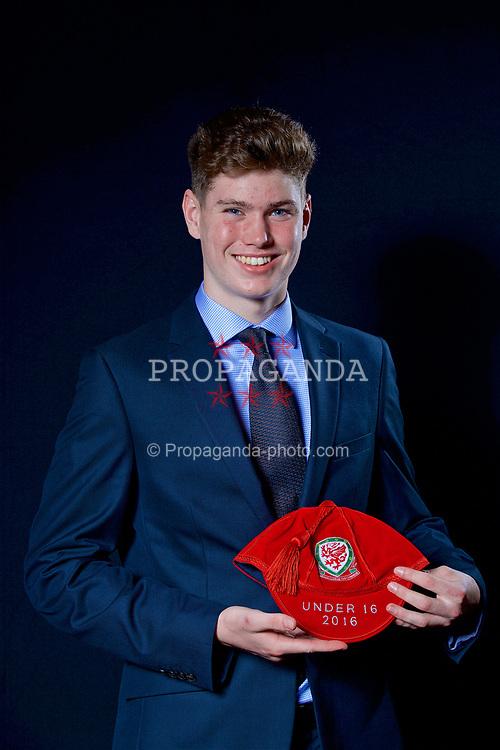 NEWPORT, WALES - Saturday, May 27, 2017: Daniel Barden with his Under-16 Wales cap at the Celtic Manor Resort. (Pic by David Rawcliffe/Propaganda)