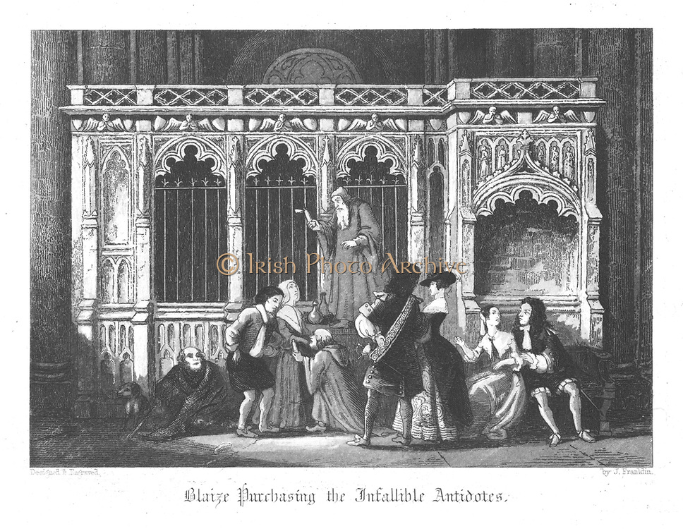 Blaize, the grocer's porter, buying plague antidotes, Plague of London, 1665. Illustration by John Franklin (active 1800-1861) for William Harrison Ainsworth 'Old Saint Paul's', London 1855 (first published 1841). Engraving.