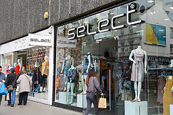 © Licensed to London News Pictures. 10/05/2019. London, UK. Shoppers outside the SELECT fashion chain store on Wood Green High Road in north London. <br /> Fashion chain SELECT enters into administration, putting 1,800 jobs at risk. SELECT runs 169 stores across the UK and is owned by Turkish entrepreneur Cafer Mahiroglu. Photo credit: Dinendra Haria/LNP