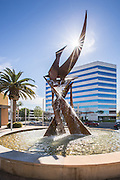 Water Fountain and Metal Sculpture at Main Street and Memory Lane Santa Ana
