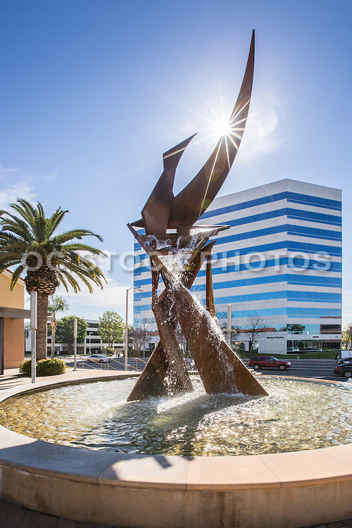 Water Fountain and Metal Sculpture at Main Street and Memory Lane Santa Ana