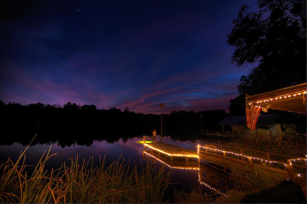 Deck at Rock Falls during sunset