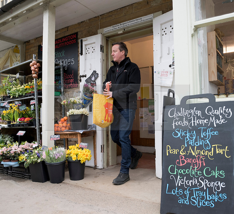 © Licensed to London News Pictures. 21/03/2015. Chadlington, Oxfordshire. Prime Minister David Cameron watches his son play football for Chadlington FC and visits the local Deli to buy some meat. Photo credit : MARK HEMSWORTH/LNP