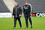 Rotherham Manager Neil Warnock leaves the pitch during the Sky Bet Championship match between Milton Keynes Dons and Rotherham United at stadium:mk, Milton Keynes, England on 9 April 2016. Photo by Dennis Goodwin.