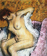 After the Bath' c1895: Edgar Degas (1834-1917) French artist. Pastel and gouache on paper.